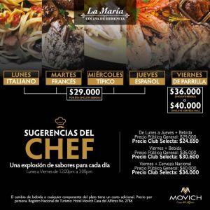 Hotel Movich - La María / Sugerencias del Chef